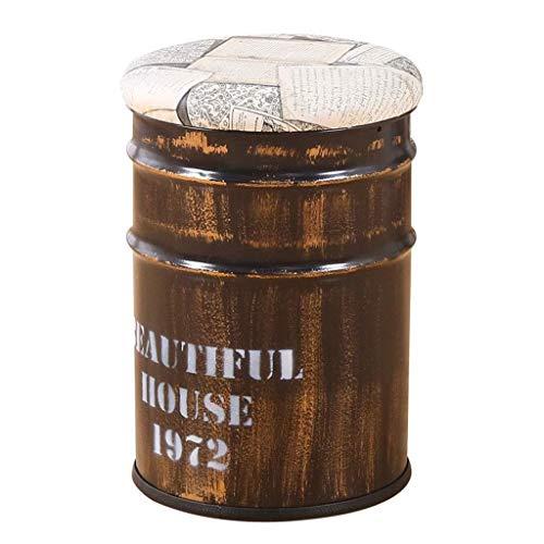 Reposapiés para el hogar, de hierro marrón, con barril, otomano, tapizado, cubeta de hierro y taburete para sofá, ahorro de espacio, carga máxima de 250 kg, 30 x 45 x 45 cm (color: B)