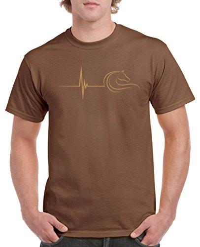 Comedy Shirts - Pulsschlag Pferd - Herren T-Shirt - Braun/Hellbraun Gr. XL