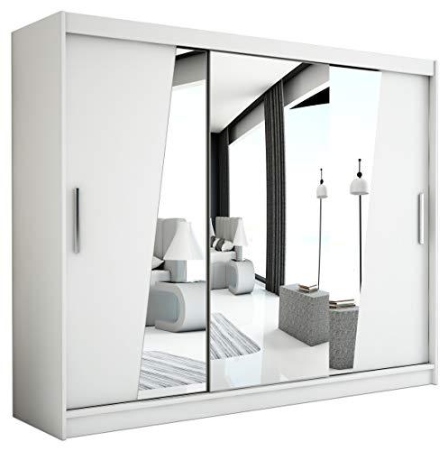 Kryspol Schwebetürenschrank Rhomb 250 cm mit Spiegel Kleiderschrank mit Kleiderstange und Einlegeboden Schlafzimmer- Wohnzimmerschrank Schiebetüren Modern Design (Weiß)