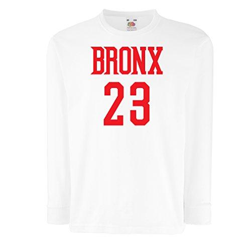 lepni.me Camiseta para Niño/Niña Bronx 23 Freestyle, Nueva York, Ropa Deportiva de Moda (9-11 Years Blanco Rojo)
