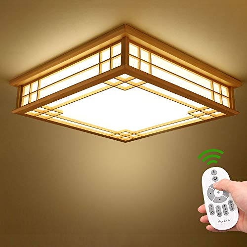 Japanische Deckenleuchte Tatami Lampe Holz LED Schlafzimmer Wohnzimmer Lampe Massivholz Deckenlampe Lampen Licht Deckenleuchten Lamp Protokolle Deckenlampen Umweltfreundliche Beleuchtung Dimmbare