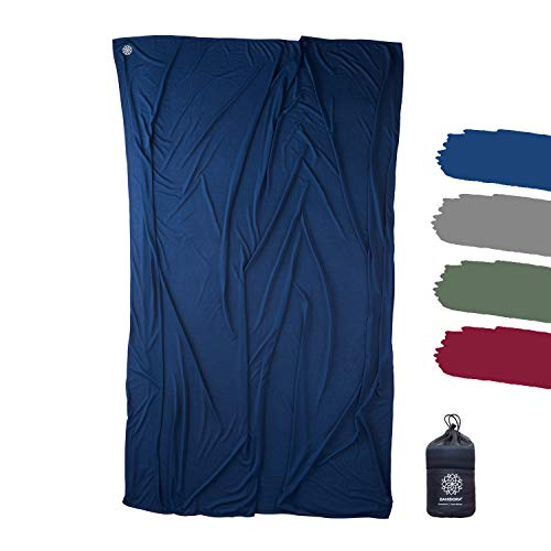Bahidora Reisedecke. 200x150cm. Ultraleichte dünne Decke aus Coolmax Material - ideal für Reisen. Geringes Packmaß, weich und atmungsaktiv (Dunkelblau)