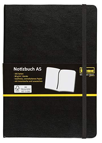 Idena 10054 - Notizbuch FSC-Mix, A5, Blanko, Papier Cremefarben, 96 Blatt, 80 g/m², Hardcover in Schwarz, 1 Stück