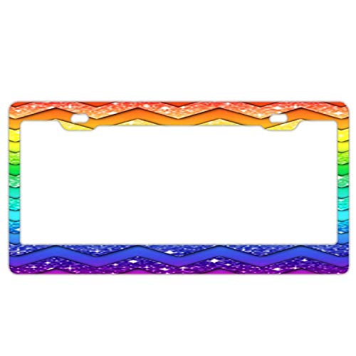 Promini Abstract Chevron Splash Glitter License Plate Frame Car License Plate Covers Auto Tag Holder 6' x 12'