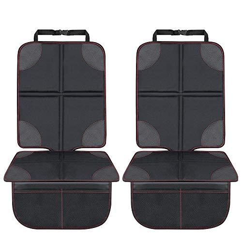 Autositzauflage Kindersitzunterlage, laxikoo Wasserabweisend Autositzschoner mit Netztasche Auto-Kindersitzunterlage ISOFIX Geeignet Kindersitz Schutzunterlage für Universale Autos (2-SET)