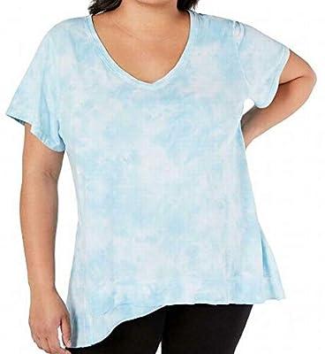 Calvin Klein Performance Womens Plus Tie-Dye V-Neck T-Shirt Blue 3X