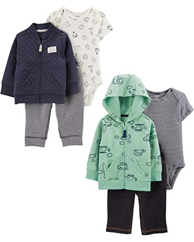 Carter's baby boys 2-pack 3-piece Set Cardigan Sweater, Navy Quilt/Transportation, 18 Months US
