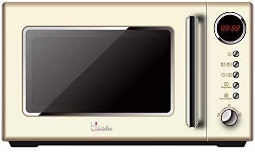 bkitchen Cook 815 beige, Retro Mikrowelle, 700W, 20 Liter Garraum, 5 Leistungsstufen, Schnellstart & Auftaufunktion, Drehteller Ø 25,5cm