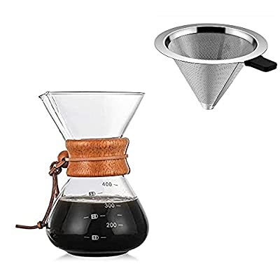 Jack&Dave Pour Over Coffee Maker Serving Set with Reusable Stainless Steel Filter, 3 Cup Serving Coffee Glass, Heat Resistant, 14 fl oz