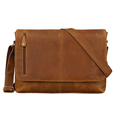 STILORD 'Hamilton' 15 Zoll Messenger Bag Leder Laptoptasche Aktentasche Vintage Umhängetasche Schultertasche Büchertasche Echtleder, Farbe:taranto - braun