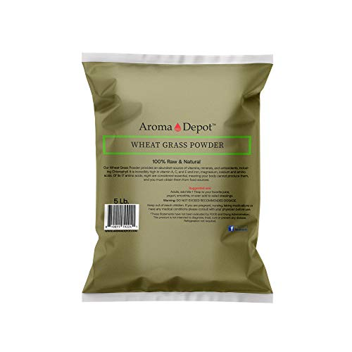 Aroma Depot 5lb Wheatgrass Powder I All Natural Raw Concentrate Wheatgrass, Gluten Free, Whole Food Supplement, Non_GMO, No Fillers, Rich in Vitamin B1 & B2, Increase Blood Cell Oxygen