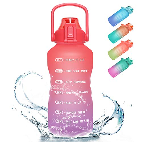 PASER Gallon/64oz Motivational Water Bottle with Time Marker amp Straw Leakproof Tritan BPA Free Water Jug 24L Ensure You Drink Enough Water Daily for Fitness Gym and Outdoor Sports