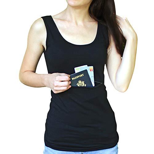 Clever Travel Companion Camiseta sin Mangas Unisex con Bolsillo Secreto, Mujer, 00-07W, One Secret Pocket-Negro, L
