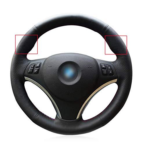 Loncky Black Genuine Leather Auto Custom steering wheel covers for BMW 128i 135i / BMW 325i 328i 328xi 328ixDrive / BMW 330xi / BMW 335i 335xi 335d 335ixDrive Accessories with bulges on steering wheel