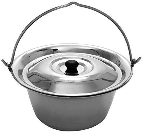 Grillplanet 9010 Gulaschkessel Edelstahl 10 Liter und Deckel, Silber