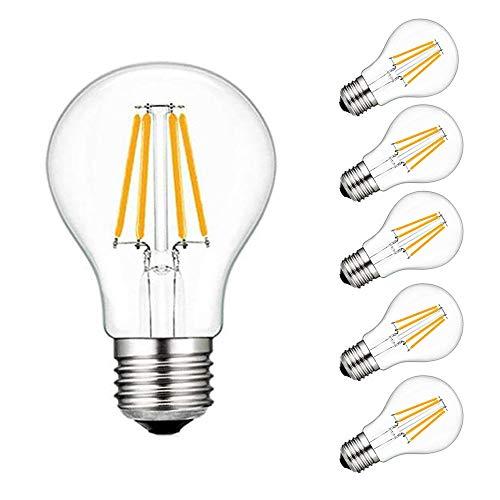 AFSEMOS LED E27 Edison-Schraubbirne, 4W (entspricht 40W), Schraube A19 3000K 400lm warmweiß, klarer Faden, Eichhörnchen-Käfig Wolframkugelglas-Antike Lampe-Pack of 5