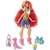 Cave Club Pigiama Party Preistorico Bambola Emberly Snodabile con Capelli Rosa e 3 Accessori, Giocattolo per Bambini 4+Anni,GTH01