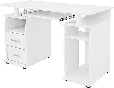 COMIFORT Bureau pour jeunes - Bureau d'ordinateur avec 2 tiroirs, 5 étagères et un plateau pour clavier amovible, conçu en Espagne, fabriqué en bois, mesure 115x55x76cm - MONTGO blanc