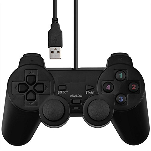 SQDeal USB Wired Joystick Gamepad Gaming Pad Controller [Double Vibration Feedback Motors] Fit for PC Computer Laptop Window (Black)