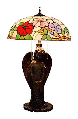 Pastoral de la gloria de mañana del estilo de Tiffany lámpara de escritorio Ángel-Base pantalla de cristal tabla for la luz de la sala dormitorio Oficina 50 * los 81CM