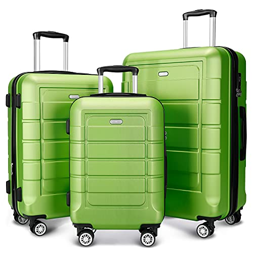 quality luggages SHOWKOO Luggage Sets Expandable PC+ABS Durable Suitcase Double Wheels TSA Lock Green 3pcs