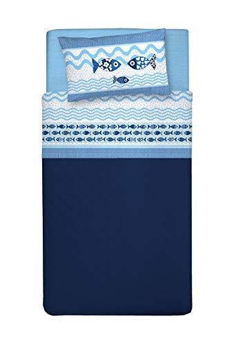 PENSIERI DELICATI Juego de Cama Individual 100% algodón, 90x200 Que Incluye sábana Bajera Debajo, sábana Bajera Encima de eso y 1 Funda de Almohada, Made in Italy, Patrón de Sea Life Azul
