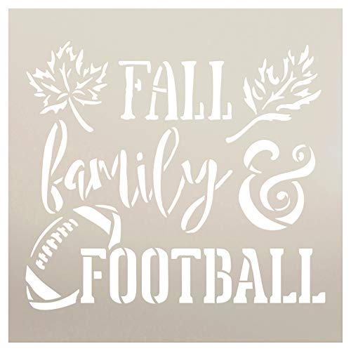 Fall Family and Football Stencil by StudioR12 | Wood Signs | Word Art Reusable | Mancave Sports Room | Painting Chalk Mixed Media Multi-Media | DIY Home - Choose Size (12