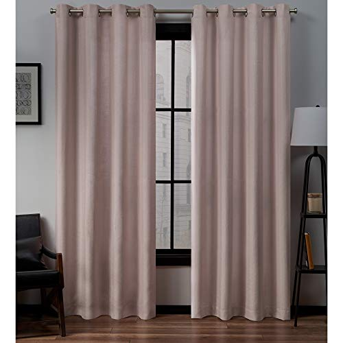 Exclusive Home Curtains Loha Linen Grommet Top Curtain Panel Pair, 54x84, Blush