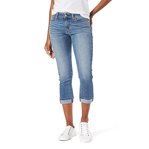 Signature by Levi Strauss & Co. Gold Label Women's Mid-Rise Slim Fit Capris, Blue Ice-Waterless, 10