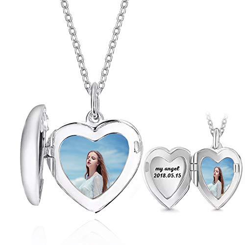 bishihongkuanbaihuod Personalizado Personalizado Mujer Collar 925 Corazón Mujer Collar Aniversario Fresco Regalo Etiqueta para Novia/Esposa(Plata 18)
