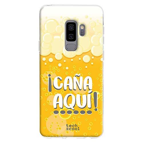 Funnytech® Funda Silicona para Samsung Galaxy S9 Plus [Gel Silicona Flexible, Diseño Exclusivo] Frase Cerveza ¡Caña aquí!
