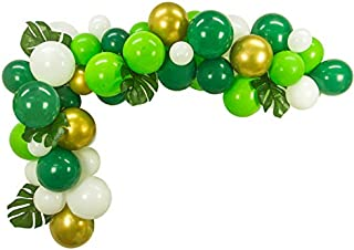 50pcs DIY Balloons Garland with 6pcs Artificial Palm Leaves Perfect for Dinosaur Jurassic World Birthday Tropical Jungle Safari Theme Decorations Baby Shower Party Decorations