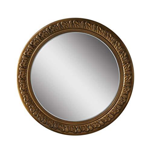 Miroirs Miroir Suspendu Au Mur Miroir Mural Rond Européen Miroir D'entrée Créatif Miroir Mural En Or Antique (Color : Antique gold, Size : 70cm/27.5inches)