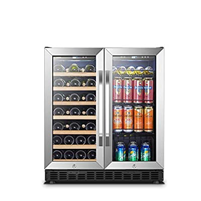 Lanbo Wine and Beverage Refrigerator, Dual Zone Built-in Wine and Drink Center, 18 Bottle and 55 Can
