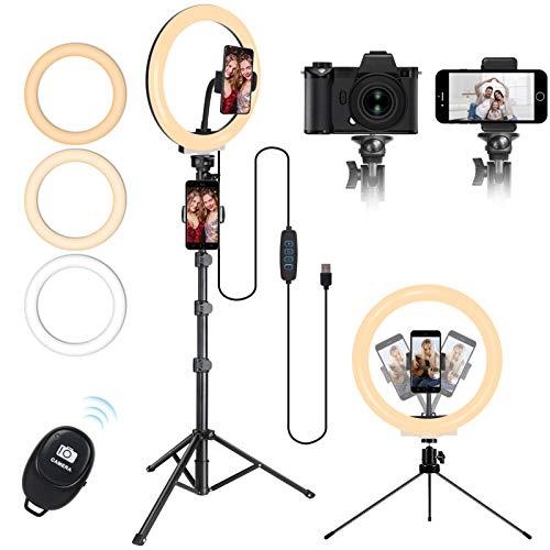 Luce ad Anello LED con Stativo Treppiede, MICCYE 10.2'' Lampada per Foto con Treppiede da 160cm, Ring Light, Ricevitore Bluetooth, Modalità a 3 Luci e 10 Luminosità Regolabile per Tik Tok e Selfie
