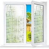 Funfox Fensterfolie Milchglasfolie Selbstklebend Sichtschutzfolie Fenster Scheibenfolie Blickdicht Dekorfolie Anti-UV Statische Folie Milchglas Sternenkreuz 44.5 x 200cm