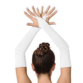 ALLNOWA Adult Unisex Elbow Length Spandex Fingerless Gloves Costume Glove One Size Fits All  White