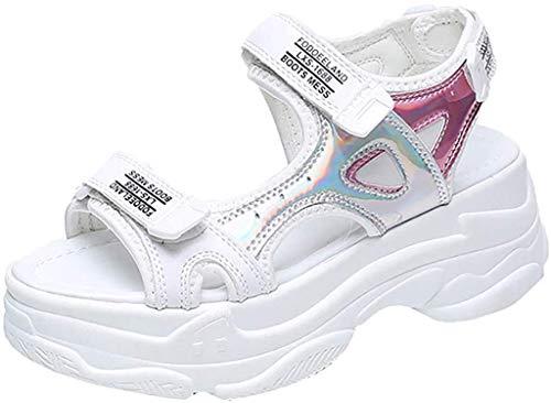 Sandalias de Mujer Plataforma Cuña Verano Tacón Altas 2019 PAOLIAN Zapatillas Deportivo Calzado Fiesta Elegantes Otoño Zapatos de Deportes Vestir Chica Escuela 35-39 EU (39 EU, Blanco)