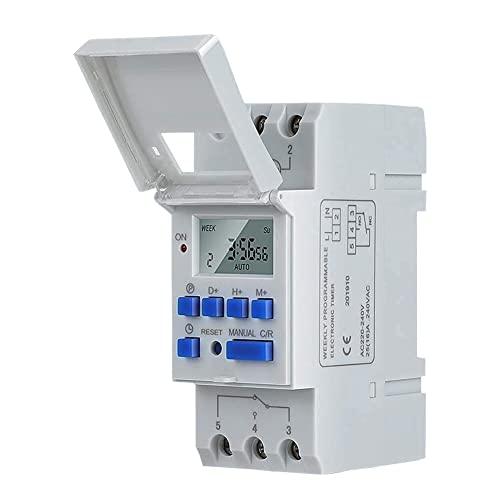 Temporizador Digital, Carril DIN Temporizador Digital 7 días / 24 Horas Temporizador enchufable programable Pantalla LCD, Interruptor de Tiempo de relé electrónico 15A 220V Una máquina usos múltiples