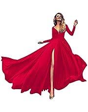 VEMOW höst vår balklänning elegant dam lång ärm cocktailklänning V-ringad solid slinga alles party kappa lång klänning