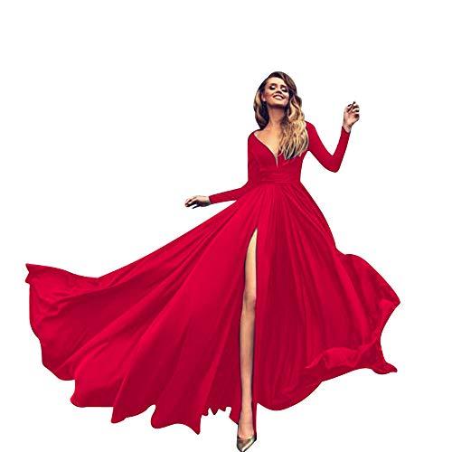 ASHOP Vestidos Mujer Manga Larga Sport Monos de Vestir Encaje Tul Falda Mujer (Rojo,L)