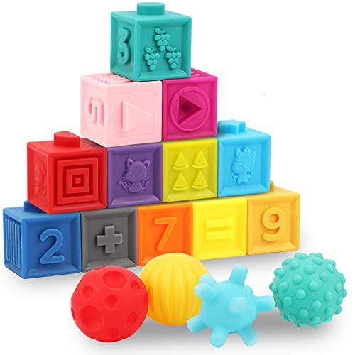 GILOBABY Baby Educational Toy for 1,2 Year Old Girl Boy Gift, Stacking Sorting Soft Building Block Bath Sensory Toy 6 Months+, Number Animal Shape Maths Early Learning Teething Squeeze Toy 16PCS