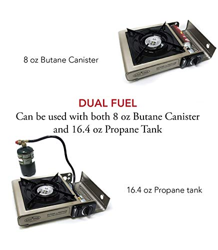 GasOne New GS-3400P Dual Fuel Portable Propane and Backpacking Gas Stove Burner with Carrying Case (Gold) Gold