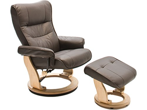möbelando Relaxsessel Fernsehsessel Ledersessel TV Sessel Armsessel mit Hocker Montreal