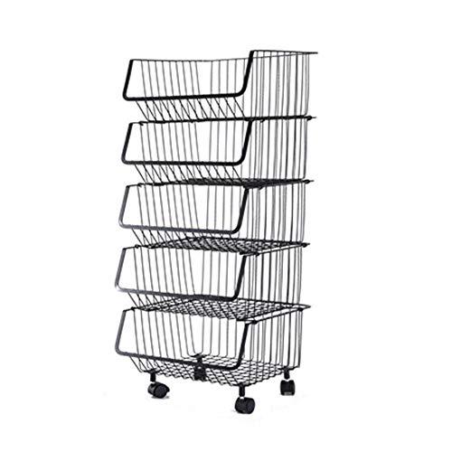 Aufbewahrungswagen Rollwagen, Dual-Purpose Räder und die Basis, Carbon Steel Boden Mehrschichtige Storage Basket Basket Cart, können die Räder gesperrt Werden (Color : D)