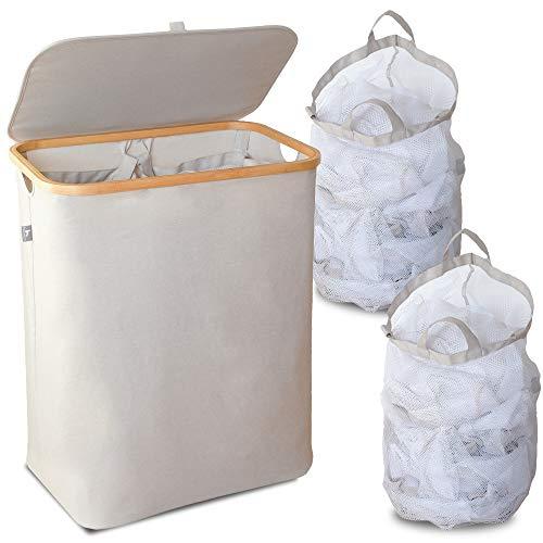 HENNEZ® Wäschekorb 2 FÄCHER 140L, HERAUSNEHMBARER WÄSCHESACK Wäschekorb mit Deckel Wäschesammler faltbar Wäschesortierer Wäschetruhe Wäschebox Wäschekörbe Bambus Laundry Baskets Wäschetonne BEIGE