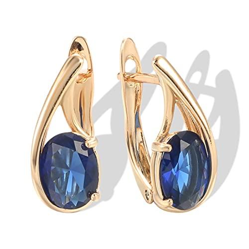 Pendiente de Mujer de Boda de Lujo 585 Joyas Finas de Oro Rosa Pendiente de Gota de circonita Natural Azul Ovalado Grande de Moda