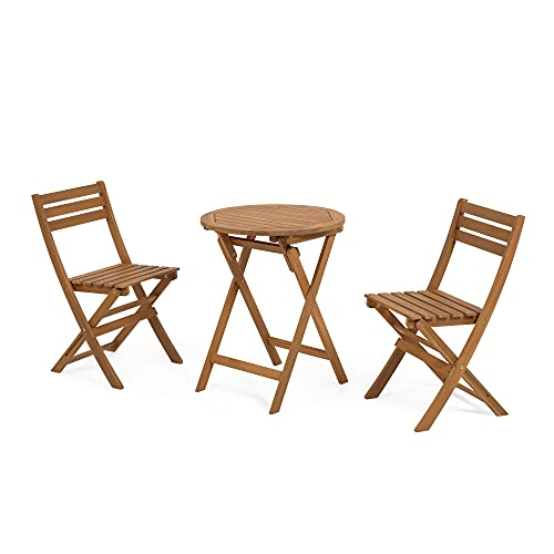 Kave Home - Juego de mesa y 2 sillas plegables de madera de acacia maciza FSC 100%.