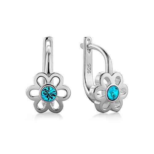 butterfly Mädchen Ohrringe Silber 925 Türkis Swarovski Elements Original Blume Satin-Beutel Taufe Geschenk