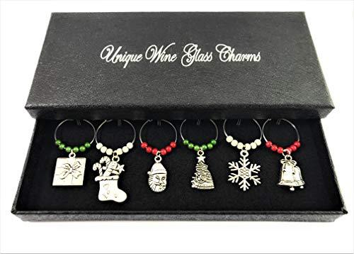 Juego de 6hecho a mano Navidad copa de vino encantos hechos a mano con caja de regalo por Libby 's Market Place